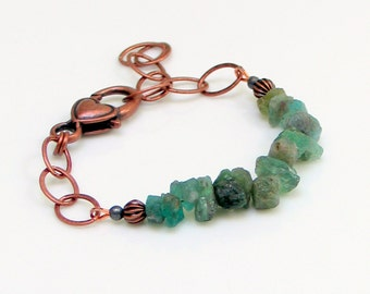Apatite Nuggets & Copper Chain Bracelet, Natural Raw Stone Green Teal Apatite, WillOaks Studio Original Nature Fashion, Stacked Stones