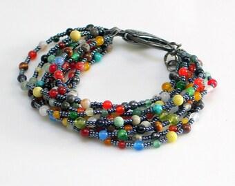 Colorful Beaded Stone Statement Cuff, Bold Multistrand Bracelet, Dark Tapestry Cuff, Beaded Hippie Bracelet, WillOaks Studio Original
