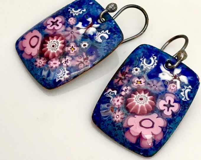 Featured listing image: Copper Enameled Jewelry, Pink and Violet Blue Enamel Earrings, Romantic Flower Design, Vitreous Enamel Dangles, Ready to Mail, WillOaks