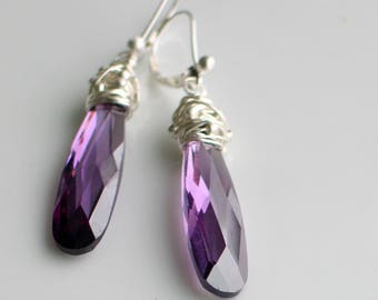 Christmas in July, Long Purple Statement Earrings, Purple Cubic Zirconia Dangles, Gift for Her, Purple Jewelry, Ready to Mail