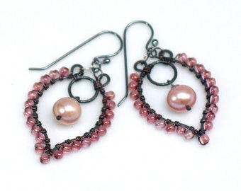 Pink Pearl Beaded Chandelier Hoops, Earrings with Czech Glass & Natural Freshwater Pearls, Artisan Made Original, Gift for Her, Boho Wedding