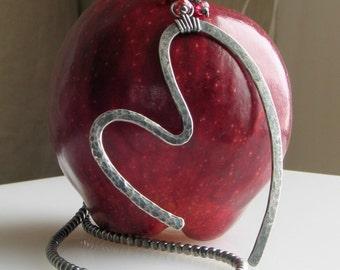 Sterling Silver Forged Pendant, Open Heart Pendant I, All Sterling Artisan Original, Handmade Sterling Beaded Chain