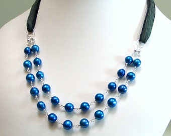 Freshwater Pearl Necklace, Wire Wrapped Linked Pearl Bib with Handmade Silk Ribbon, Sterling Silver and Pearl Classic