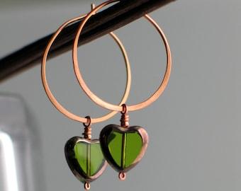 Heart Hoops Green Earrings, Czech Glass Dangle Hearts, Handmade Copper Hoop Earrings, Transparent Peridot Green, Green Glass Heart Earrings