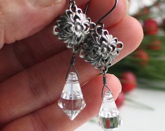 Crystal Prism Dangle Earrings, Antique Silver Medallion, German Leaded Cut Crystal, Sparkle Rainbow Bling Earrings