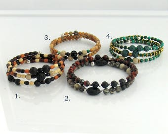 Lava Stone Bracelets for Essential Oils, Earthy Beads Memory Wire Beaded Bracelets, Therapeutic Oils to Wear, Gift for Her, Boho Bracelet
