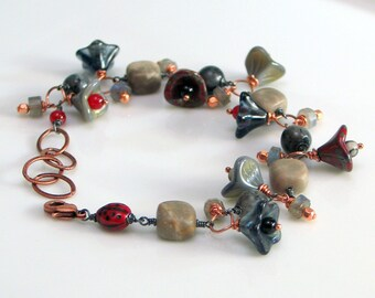 Charm Bracelet Urban Rock Garden, Mixed Metal Concept Art Bracelet, Copper with Grays Blue Red, Stones and Glass, Lady Bug