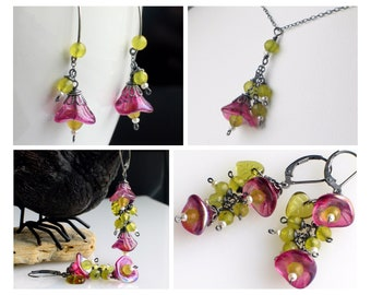Flower Jewelry in Pink & Green, Rose Flower Earrings and Pendant Necklace, Olive Jade and Pearls Nature Inspired, Mix and Match Sets for Her