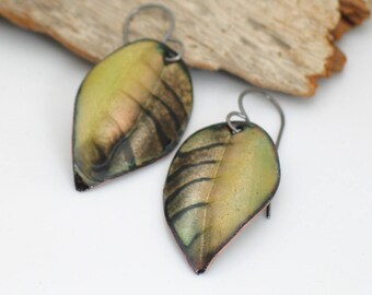 Leaf Earrings Yellow & Dark Brown, Striped Copper Dangles, Vitreous Enamel Leaves, Deluxe Original Gift for Her, Ready to Mail