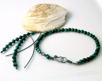 Teal Stone Jewelry, Earrings and Bracelet in Sterling and Magnesite, Artisan Metalwork, Classy Minimal Natural Gift Set