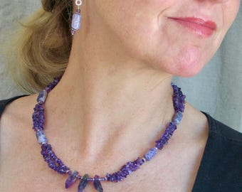 Purple Amethyst Choker, February Birthstone Gift, Natural Gemstone and Sterling Silver Necklace, OOAK Original Artisan Design, Ready to Mail