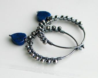 Blue Lapis Lazuli Heart Hoops, Handmade Oxidized Silver Textured Hoop Earrings, Natural Lapis Hearts Earrings, Blue Heart Earrings