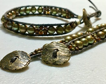 Bronze Pearl and Leather Wrap Cuff, Freshwater Pearl Boho-vibe Bracelet, Antique-finish Brass Button, WillOaks Studio Artisan Jewelry