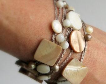 Light Neutrals Wrap Bracelet or Long Silk Necklace