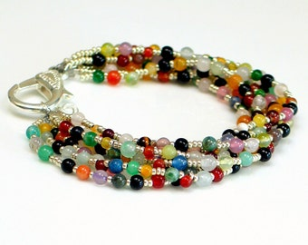 Bold Colorful Stone Beaded Cuff Bracelet, Multistrand Statement Bracelet Large Clasp, Hippie Cuff, Multi Colored Bracelet, Artisan Original