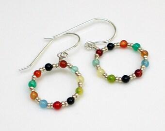 Colorful Beaded Hoop Earrings, Bright Stones and Sterling Silver Dangles, Hippie Earrings