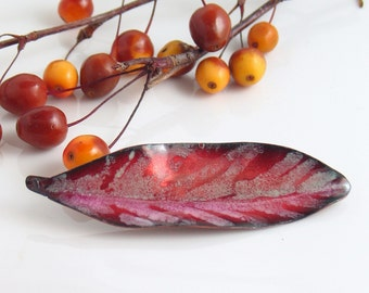 Big Ruby Pink Leaf Art Pin, One of a Kind Artisan Jewelry, Vitreous Enamel, Ready to Mail Gift, Pink Feather Shape