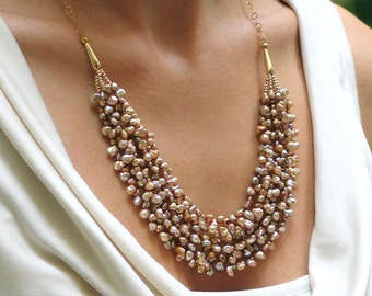 Keishi Pearl and Gold Bib Statement Necklace, Luxury Necklace and Earring Set, Jewelry Set for Wedding, Prom, Formal