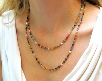 Long Beaded Necklace of Colorful Gemstones and Vintage Glass, Multi Colored Stones, Hippie Layering Chain, Bohemian Fashion