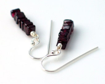 Garnet Stacked Earrings, Square Garnets on Fine Silver Dangle Earrings, Stacked Stone Series, WillOaks Studio Original Earrings, January