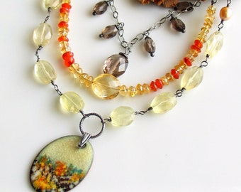 Colorful Gemstone Chain Layers, Bib Necklace with Stones and Copper Enamel Pendant, Landscape Image, WillOaks Studio Original Art Jewelry