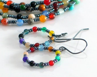 Dark Gray and Bright Beaded Hoop Earrings, Colorful Stone Beaded Dangles, Oxidized Silver Hippie Hoops, WillOaks Bohemian Tapestry Series
