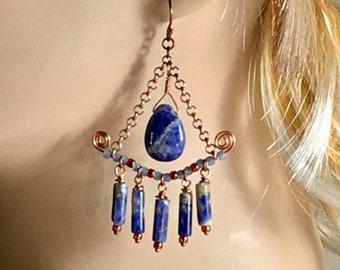 Blue Sodalite & Copper Hippie Chandelier Earrings, Blue Denim Stones in Artisan Handmade Boho Long Blue Dangles, Perfect Gift for Her