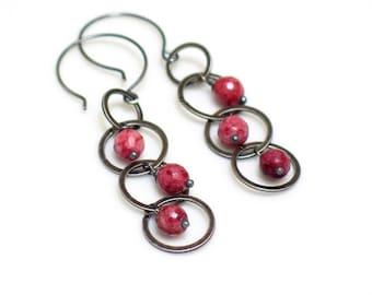 Swinging Pink Earrings, Rose and Gray Dangles, Artisan Original Long Mobile Earrings, Pink Lepidolite & Circles, Funky Fun Dangles