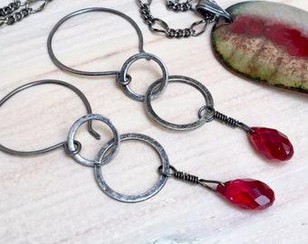 Ruby Crystal Dangle Earrings, Red Swarovski Crystal Drops, Original Gunmetal Dangle Hoops, Artisan Made Earrings, July Birthstone