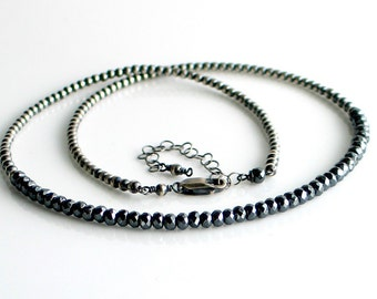 Gray Stone Bead Choker Necklace, Dark Gray Sparkly Hematite on Oxidized Sterling Beaded Chain, Dark Beaded Necklace, Gift for Her