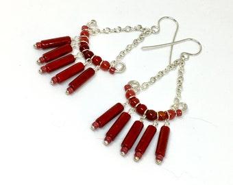 Red Stone Beaded Silver Chandelier Earrings, Long Boho Chandeliers in Ruby Red, Hippie Dangle, Artisan Handmade Statement Earrings, Gift