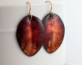 Red & Brown Copper Leaf Earrings, Hand Enameled Artisan Dangles, Original OOAK Art Jewelry, Fall Fashion, Nature Inspired Gift for Her
