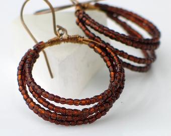 Brown Beaded Hoop Earrings, Big Sterling Silver Hoop Earrings with Vintage Rootbeer Beads, Original Coiled Hoop Earrings