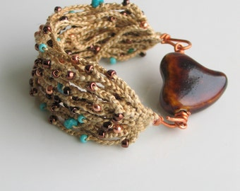 Crocheted Silk Cuff with Ceramic Heart Clasp, Straw Color Silk Bracelet with Czech Glass Copper Turquoise, Artisan Original Nature Valentine
