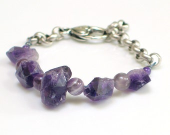 Amethyst Crystal and Bead Bracelet, Stones & Chain Cuff, Raw Stone Purple Bracelet, WillOaks Studio Original Bracelet, Stacked Stones Series