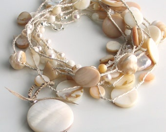 Ivory Crocheted Silk Seashore Treasures Necklace, Spring Wrap Cuff, Long Chain, Boho Wedding, White, Ivory, Ecru, Beige, WillOaks Studio