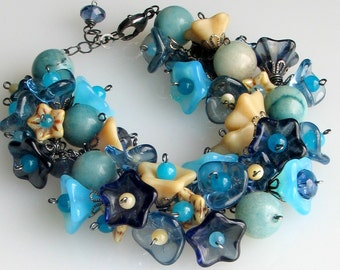 Deluxe Blue Flower Bracelet in Glass and Stone, Czech Pressed Glass Garden Cuff, Extraordinary Gift for Her, Gardeners' Delight