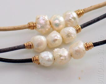 Freshwater Druzy Pearls Necklace, White Pearls and Leather Choker with Precious Metal Bindings by WillOaks Studio, Choose Leather & Metals