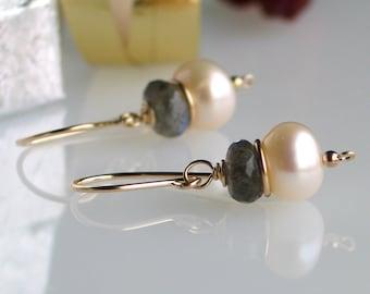 Pearl Labradorite Gold Earrings, Freshwater Pearl Earrings in Gold Filled, Classic Earrings, Designer Jewelry, WillOaks Studio Designs