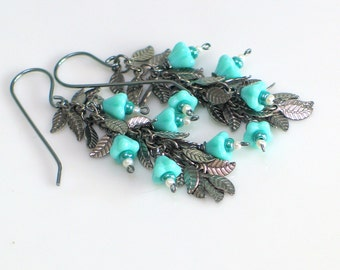 Leafy Dangle Tassel Flower Earrings,Turquoise Blue Bell Flowers and Dark Vine Earrings, Blue Flower Earrings, Spring Fashion
