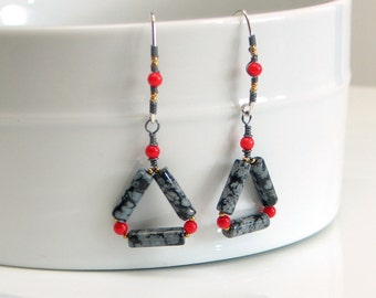 Black and White Triangle Dangles, Coral and Obsidian Mixed Metal Earrings, Black and White Fashion Trend, WillOaks Studio