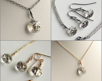 """Crystal Pendant and Earring Set for Her, Layering Minimalist Necklace, Swarovski """"Vintage"""" Gold or Silver, Jewelry Gift Set, April, For Mom"""
