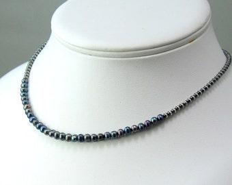 Dark Peacock Pearl Bib Choker, Freshwater Pearls on Sterling Beaded Chain, June Birthstone Necklace, Gift, WillOaks Signature Design