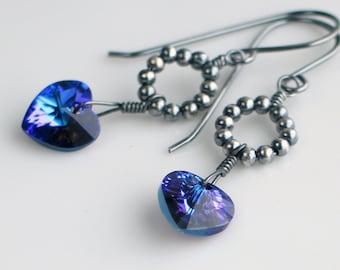 Ultraviolet Crystal Heart Earrings, Swarovski Purple Crystal Dangles, Handmade Sterling Silver Artisan Earrings, Valentines Gift for Her