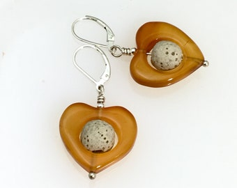 Red Agate Diffuser Jewelry, Essential Oil Stone Heart Dangle Earrings, Beige Lava Stone, E O Jewelry by WillOaksStudio, Valentines Gift
