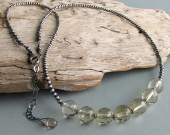 Lemon Quartz Choker with Sterling Beaded Chain, Faceted Pale Champagne Semi-Precious Stone Necklace, Original Artisan Design, Layering Chain