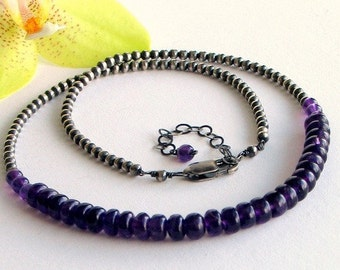 Amethyst Beaded Cluster Necklace on Sterling Silver Beaded Chain, Choker, Gemstone Necklace, February Birthstone, Deluxe Gift For Her