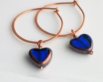 Cobalt Blue Heart Hoops, Czech Glass Heart on Handmade Copper Hoop Earrings, Transparent Glass Heart Earrings for Giving