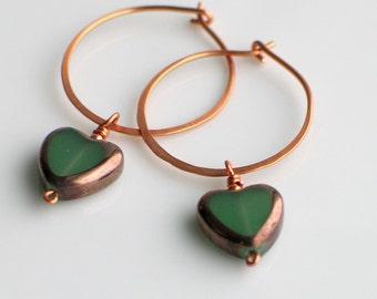 Celadon Green Heart Hoops, Czech Glass Hearts on Handmade Copper Hoop Earrings, Translucent Green Glass Earrings for Spring & St Patrick