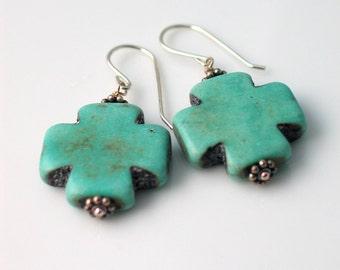 Swiss Cross Earrings, Sterling Silver and Teal Blue Easter Cross Earrings, Rustic Handmade Dangle Earrings, Swiss Jewelry, Christian Jewelry